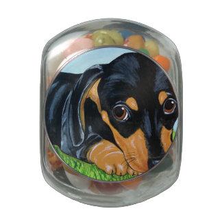 Sad Eye Dachshund wants to share your candy Glass Candy Jar