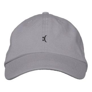 sad face embroidered baseball cap