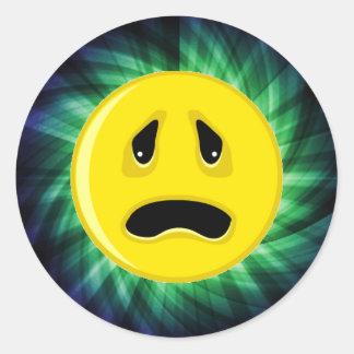 Sad Face; Green Classic Round Sticker