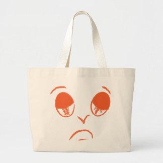 Sad face large tote bag