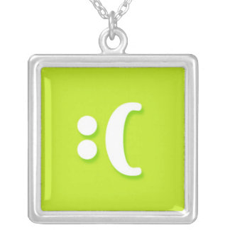 Sad Face Messenger Text Messag Text Square Pendant Necklace