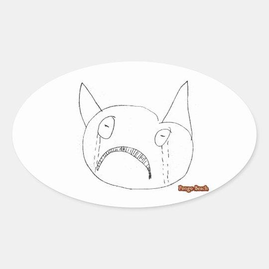 Sad Face Oval Sticker