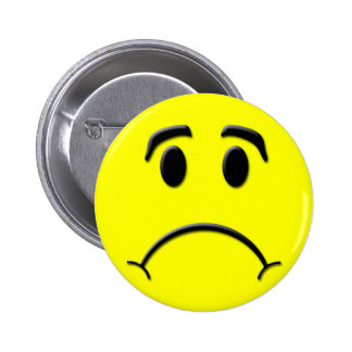 Sad face pinback button