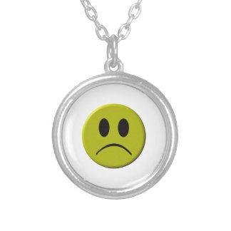 Sad Face Round Pendant Necklace