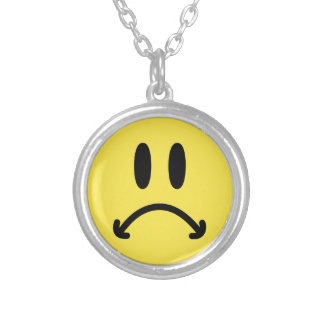 Sad Face Silver Plated Necklace
