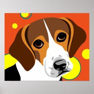 Sad Faced Beagle Poster