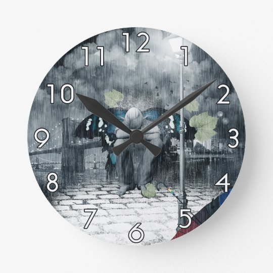 Sad Fairy Round Clock