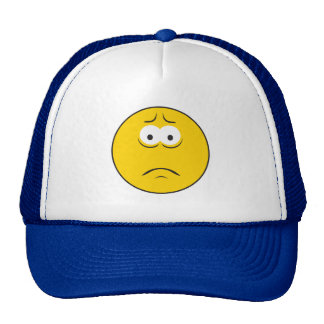 Sad Frowning Smiley Face Mesh Hat
