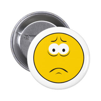 Sad Frowning Smiley Face Pinback Button