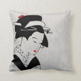 Sad Geisha Light Grey Throw Pillow