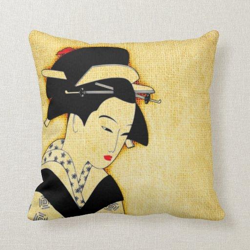 Soft Yellow Decorative Pillow : Sad Geisha Soft Yellow Pillows Zazzle
