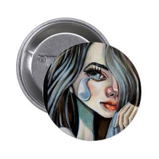 Sad girl swipes in pinback button