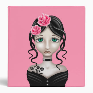 Sad Girl with Pink Roses 3 Ring Binders