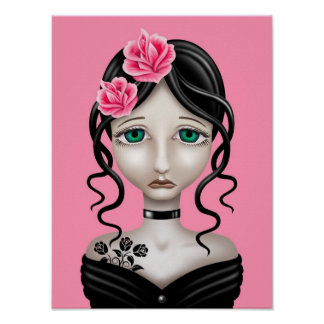 Sad Girl with Pink Roses Poster
