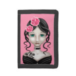 Sad Girl with Pink Roses Tri-fold Wallets