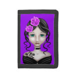 Sad Girl with Purple Roses Trifold Wallets