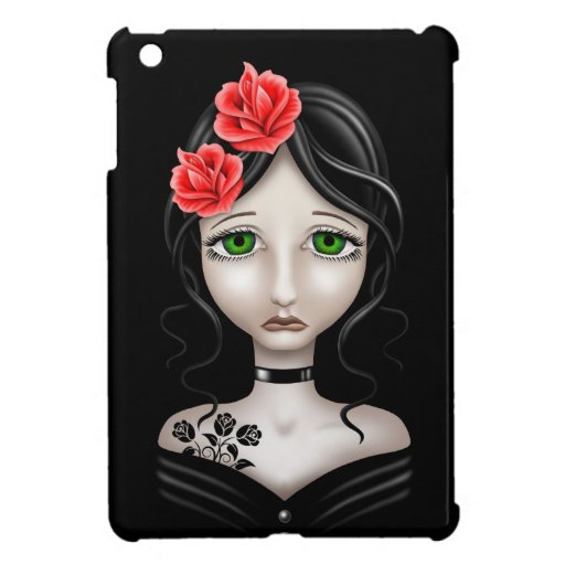 Sad Girl with Red Roses on Black iPad Mini Cases