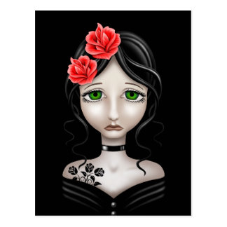 Sad Girl with Red Roses on Black Postcard