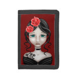 Sad Girl with Red Roses Tri-fold Wallet