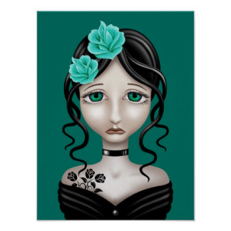 Sad Girl with Teal Blue Roses Poster