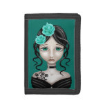 Sad Girl with Teal Blue Roses Trifold Wallet