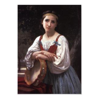 Sad girl with the tambourine card