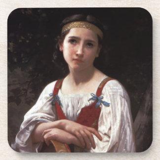Sad girl with the tambourine drink coaster