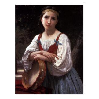 Sad girl with the tambourine postcard