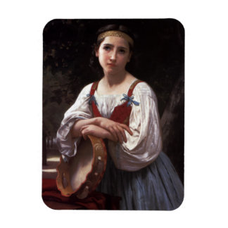 Sad girl with the tambourine rectangular photo magnet