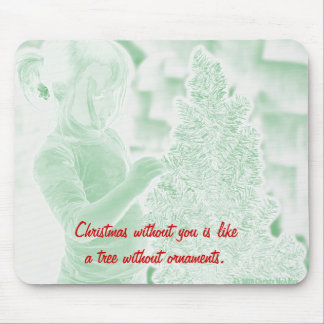 Sad girl without ornaments on Christmas tree. Mouse Pad