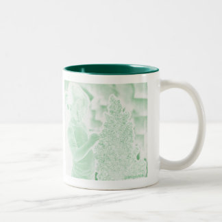 Sad girl without ornaments on Christmas tree. Two-Tone Coffee Mug