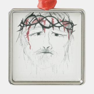 Sad God Metal Ornament