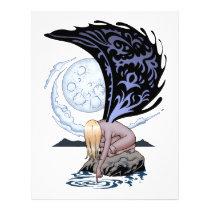 sad, goth, gothic, fairy, moonlight, reflection, remembering, thinking, art, al rio, thomas mason, illustration, Papel de cartas com design gráfico personalizado