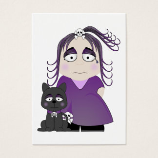 Sad Gothic Girl And Cat In Purple Business Card