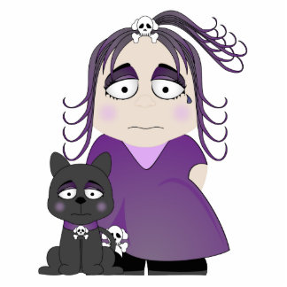 Sad Gothic Girl And Cat In Purple Cut Outs