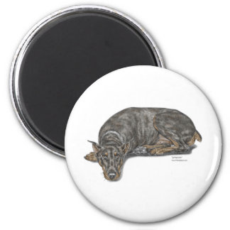 Sad Guilty Looking Doberman 2 Inch Round Magnet