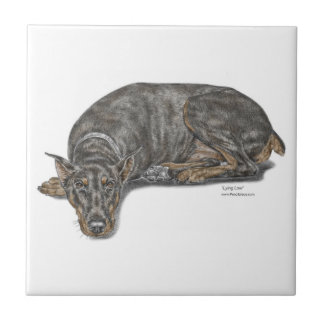 Sad Guilty Looking Doberman Small Square Tile