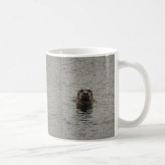 Sad Harbour Seal in the Rain Wildlife Art Coffee Mug