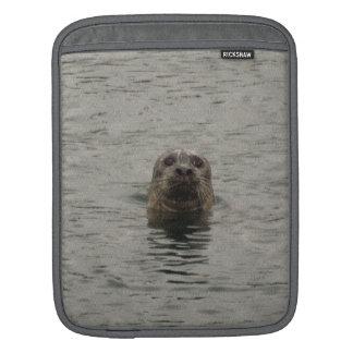 Sad Harbour Seal in the Rain Wildlife Art Sleeve For iPads