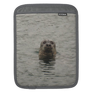Sad Harbour Seal in the Rain Wildlife Art Sleeves For iPads