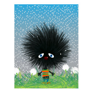 sad hedgehog postcard