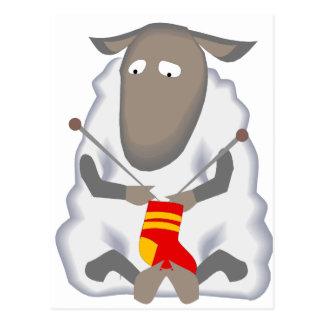 Sad Ironic Sheep Knitting Sock Wool Postcard
