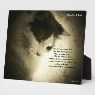 Sad Kitty with Psalm 3:1-4 Plaque