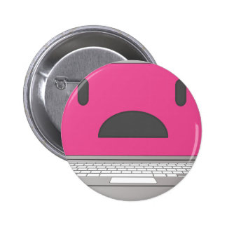 Sad laptop pinback button
