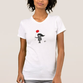 Sad little girl with red balloon t shirt