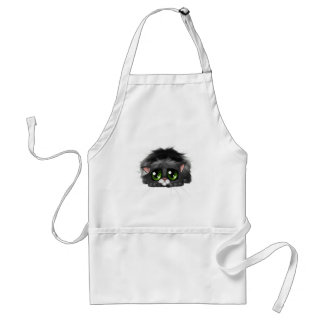 Sad little kitten with huge green eyes (on white) adult apron
