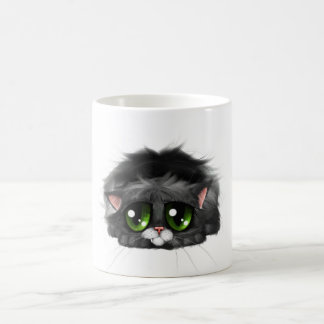 Sad little kitten with huge green eyes (on white) coffee mug