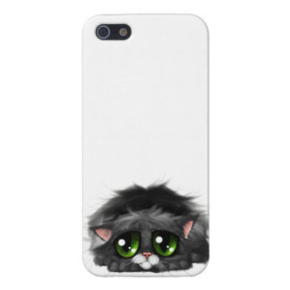 Sad little kitten with huge green eyes (on white) iPhone SE/5/5s cover