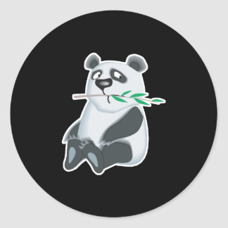 sad little panda bear classic round sticker