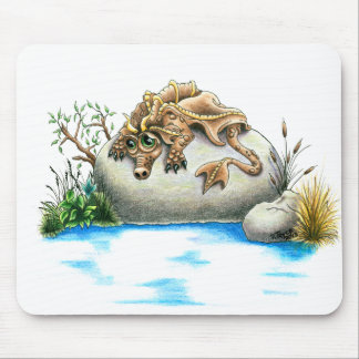 Sad little rock dragon mouse pad